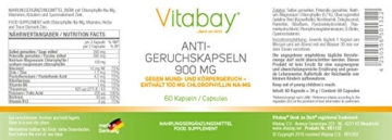 Anti-Geruchskapseln - Gegen Mund- und Körpergeruch - Chlorophyll 100 mg 900 mg - 60 Kapseln - Stoppt Knoblauchfahne - Frischen Atem - Mundfrische - Gegen Mundgeruch -