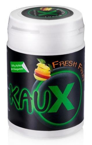 kauX Xylitol Zahnpflege-Kaugummi 4'er Pack gemischt (60g=40 Stück pro Dose) -